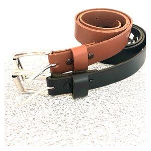 """Men's Genuine Leather Brown & Black Belt Set 44"""""""